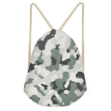 Simple Women Men Drawstrings Bags 3D Camouflage Printed Boys Girls Storage Backpacks Multifunction Travel Beach BagsSumka