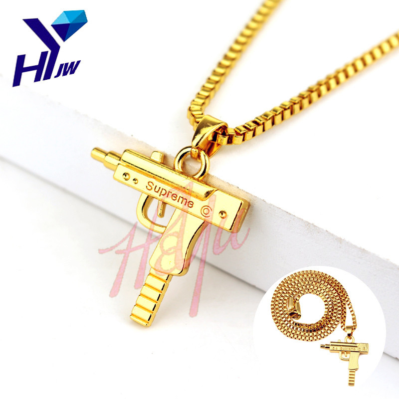 HEYu Pistol Gun SUPREME Uzi Necklace Star Jewelry Men Hip Hop Dance Charm Franco Chain Hiphop Gaes Golden Necklace Drop Shipping