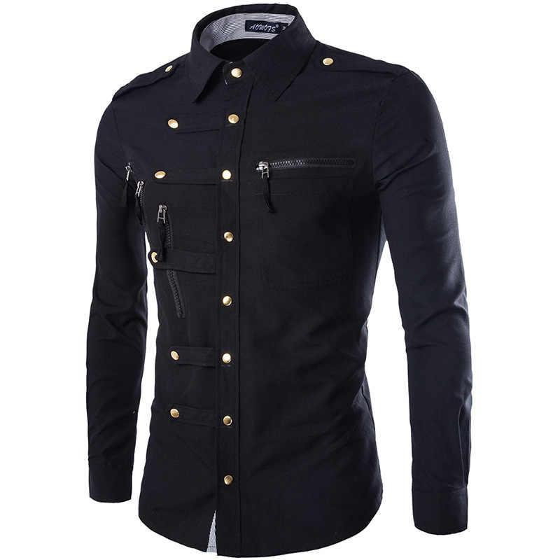 Новое поступление весна/осень Для мужчин с длинным рукавом рубашка-карго Повседневное Slim Fit Мода Epaulet двойной карман мужская одежда рубашка M L XL XXL