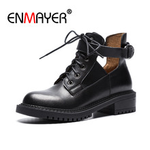 ENMAYER Fashion Genuine Leather Classic Black Martin Boots Women Lace Up Ankle Boots Buckle Soft Low Heels Winter Shoes CR891 цена и фото
