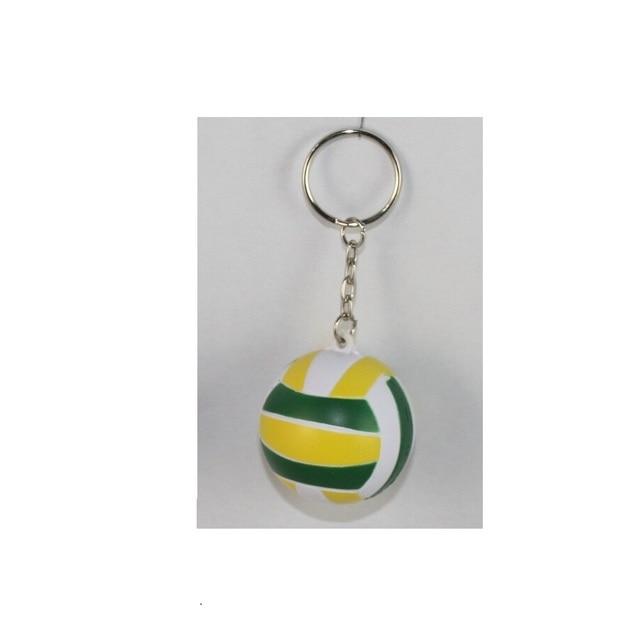 Bola de voleibol forma de PU suave llavero bolsa de plástico artesanías decorar adorno colgante