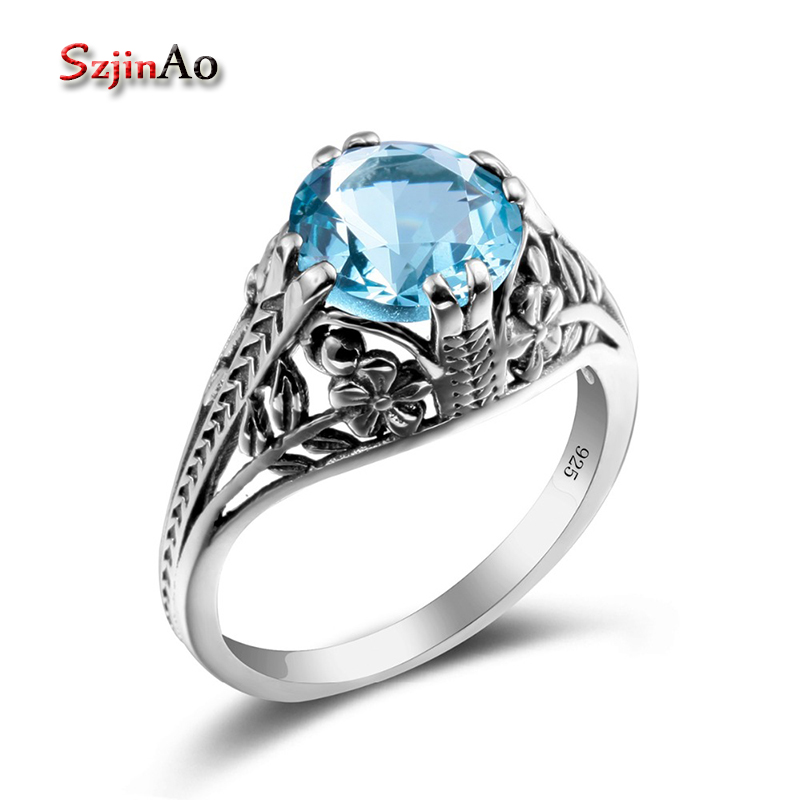 Szjinao Fashion 925 Sterling Silver Ring Bridal Wedding Jewelry Blue Aquamarine Jewelry Rings For Women Wholesale 2017 Hot