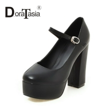 DoraTasia 2017 Fashion Thick Platform Women Pumps Sexy Square Super High Heels Ankle Strap Woman Wedding Party Shoes