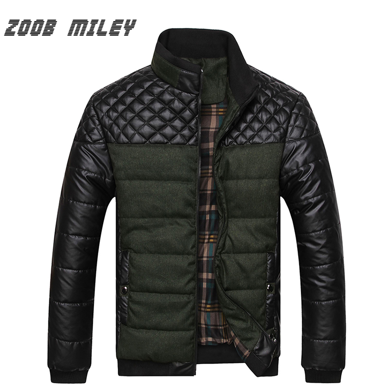 ZOOB MILEY Mens Winter Jackets and Coats Casual Contrast Color Fashion Long Sleeve Warm PU Splice Overcoats Plus Size L-4XL