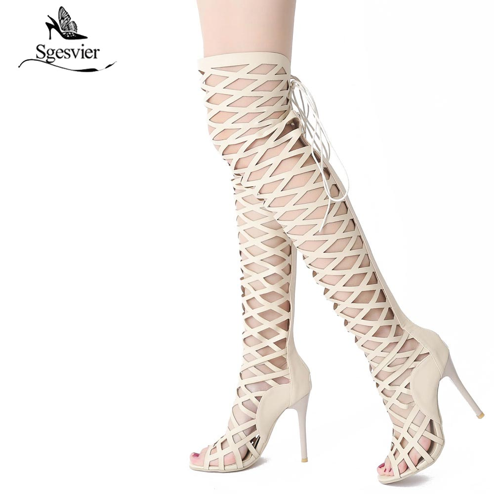 TAN KNEE LACE UP HIGH HEELS STILETTO FASHION GLADIATOR NEW HOT SANDALS SUMMER