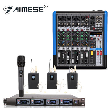 Professional Wireless Microphone System U4000F 4 Channel UHF condenser 4 Ear hook Microphone MT 8 Portable Mixer 8 Channel