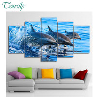 100% 5pcs diamond painting The sea 3 dolphins Hanging on the wall 5d DIY full round&square embroidery wedding decoration gifts