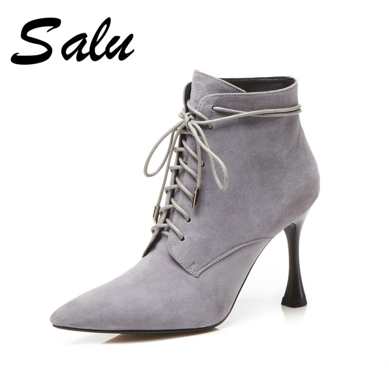 Salu 2018 Large Size 33-43 pointed toe brand design Ankle Boots Woman Shoes zip up thin high heels Shoes woman BootsSalu 2018 Large Size 33-43 pointed toe brand design Ankle Boots Woman Shoes zip up thin high heels Shoes woman Boots