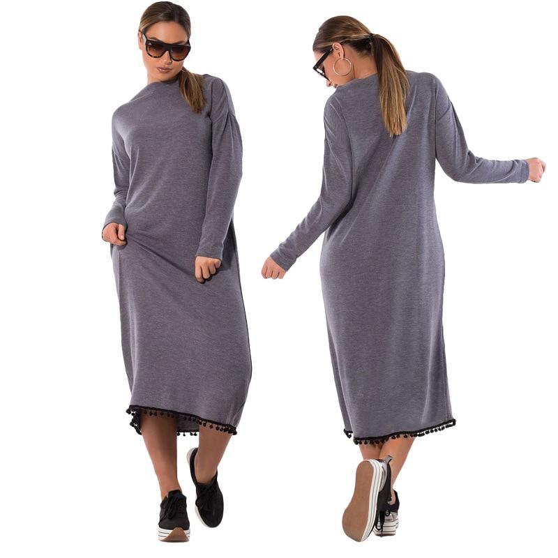5XL 6XL Tassels New Women Dresses Large Size Autumn Winter W