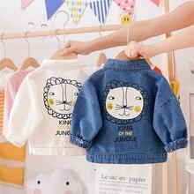 цена Hot sale fashion jeans cool baby girl boys jacket lion print children fall winter coat 2019 онлайн в 2017 году