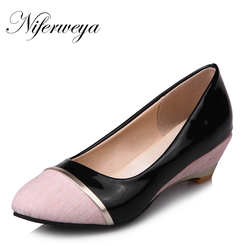 Big size 28-52 Spring/Autumn women pumps fashion Round Toe Mixed Colors ladies shoes new Slip-On Shallow Wedges high heels 8012 women high heels plus size 32 42 sexy office pointed toe wedges shoes slip on women pumps fashion mixed color ladies shoes