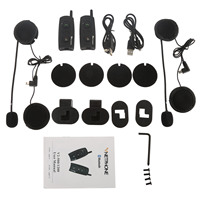 2pcs BT Interphone Wireless Bluetooth Motorcycle Intercom Helmet Headset V2 1200 Full Duplex 1000 Meters For