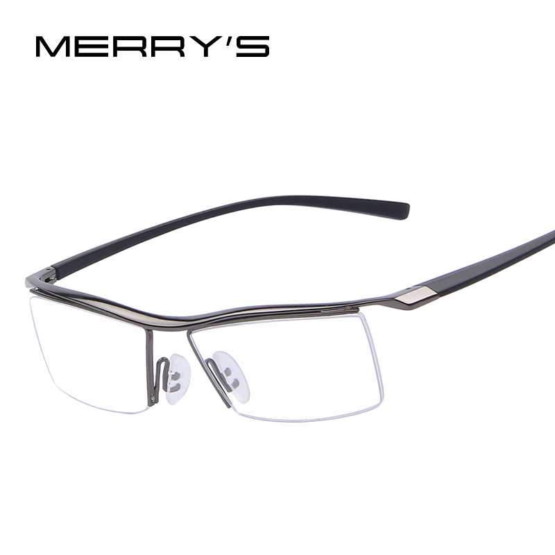 MERRY'S Men Optical Frames Eyeglasses Frames Rack Commercial Glasses Fashion Eyeglasses Frame Myopia Titanium Frame TR90 Legs