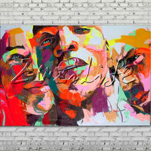 Palette knife portrait Face Oil painting Character figure canva Hand painted Francoise Nielly wall Art picture for living room44
