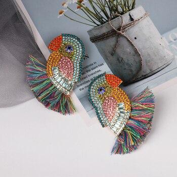 JUJA new design good quality fashion women statement full crystal parrot bird drop earrings 3