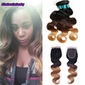 1b/4/27 ombre hair malaysian virgin bundles with closure 3 tone 3bundles with lace closure wonder beauty hair with closure