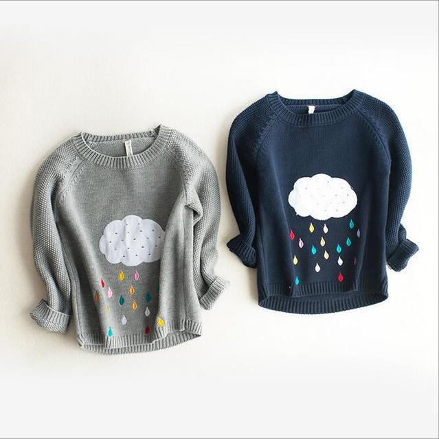 Muchachos de los bebés nube raindrop colorido impreso pullover sweaters niño o-cuello de manga larga chaqueta de punto ropa de los niños 2-8 T