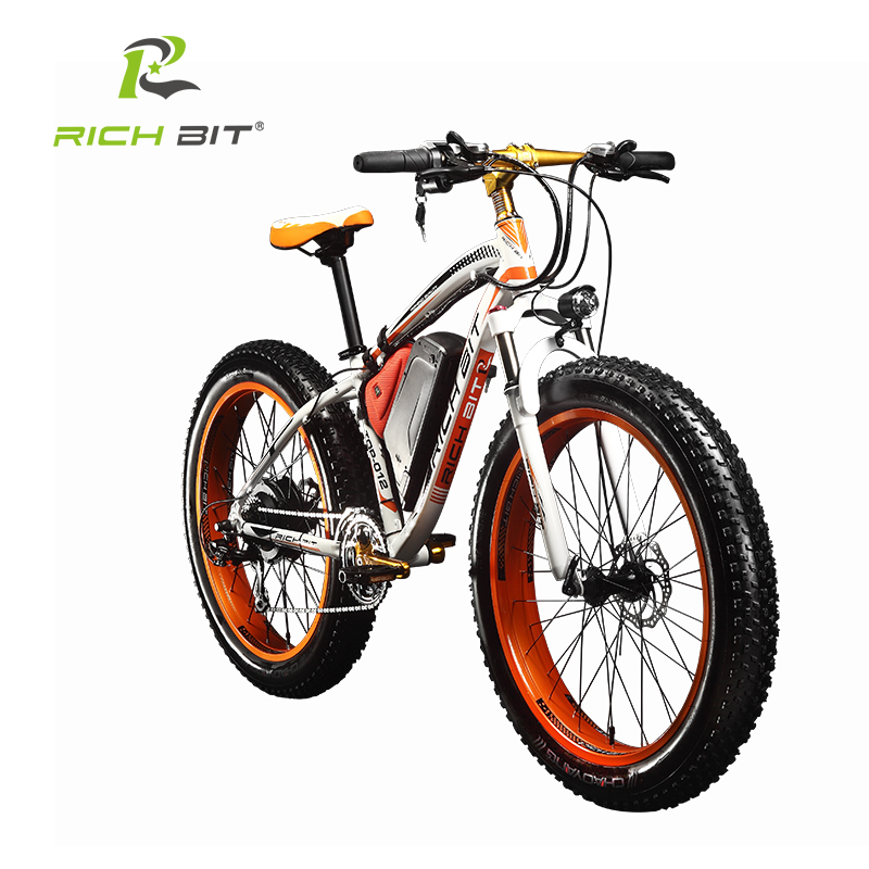 RichBit New Snow Electric Bike 48V 1000W Electric font b Bicycle b font With 17Ah Lithium