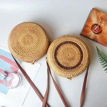 VM Round Rattan Bag Handmade Straw-Woven Messengers Cross Body Vintage Circle Beach-Bohemia Summer Handbag & Purse For Women