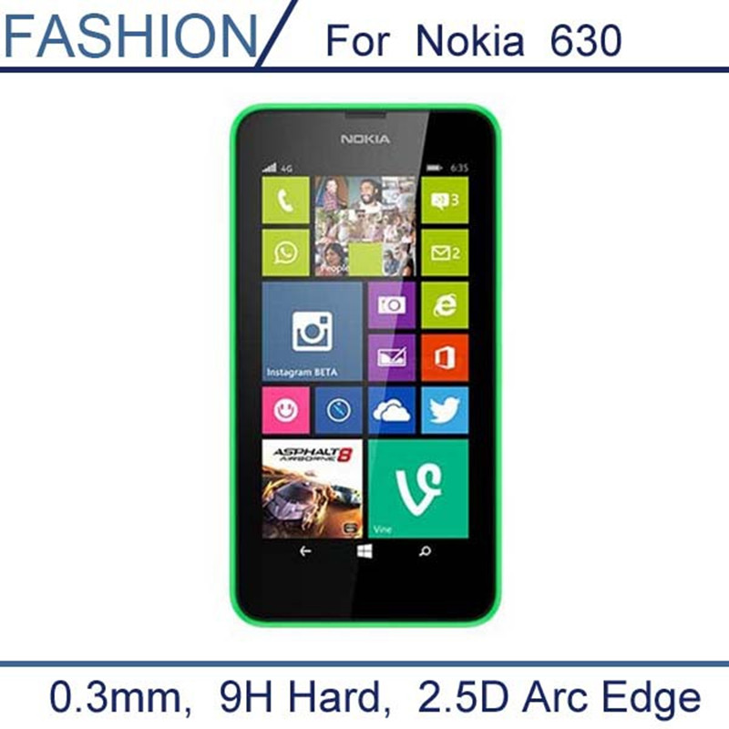 For Nokia Lumia 630 0.3mm Tempered Glass for Nokia Lumia 630 635 636 638 Dual Sim N630 9H Hard 2.5D Ultra Thin Screen Protector
