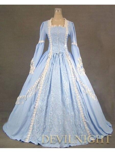 Elegantní modré krajkové viktoriánské šaty