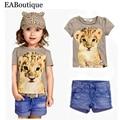 EABoutique 2017 Новая мода девушки одежда котенок леопарда печатных коротким рукавом тройник с джинсы шорты котенок одежда