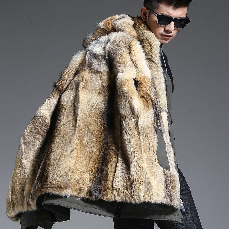 Волк шуба Для мужчин зимние Обувь на теплом меху пальто с капюшоном Стильная удлиненная куртка толстом натуральном шуба из натурального ме...