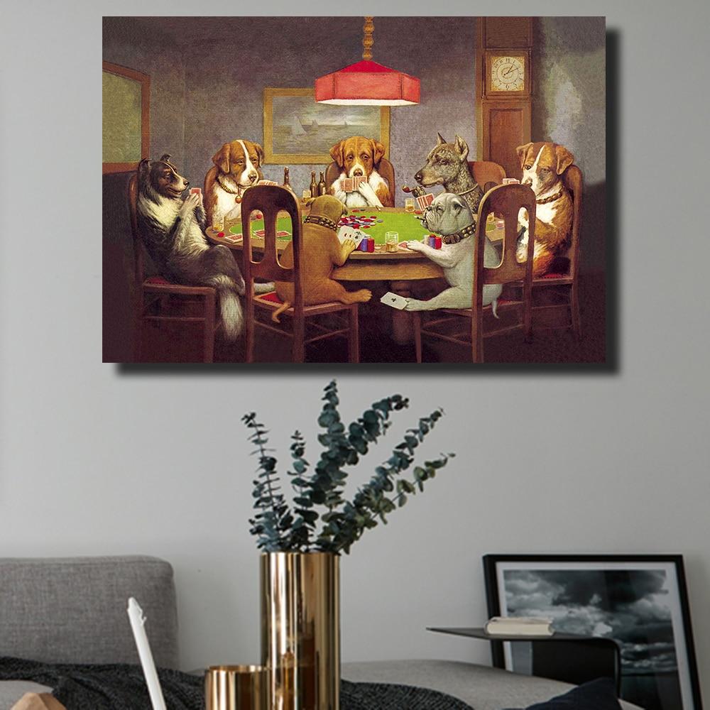 QKART Öl Malerei Wand Kunst Leinwand Drucke Hunde Spielen Poker ...