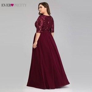 Image 4 - Vestidos de talla grande Borgoña Madre de la novia siempre Pretty EP07992BD A Line cuello pico encaje de lentejuelas Farsali elegantes vestidos para madres