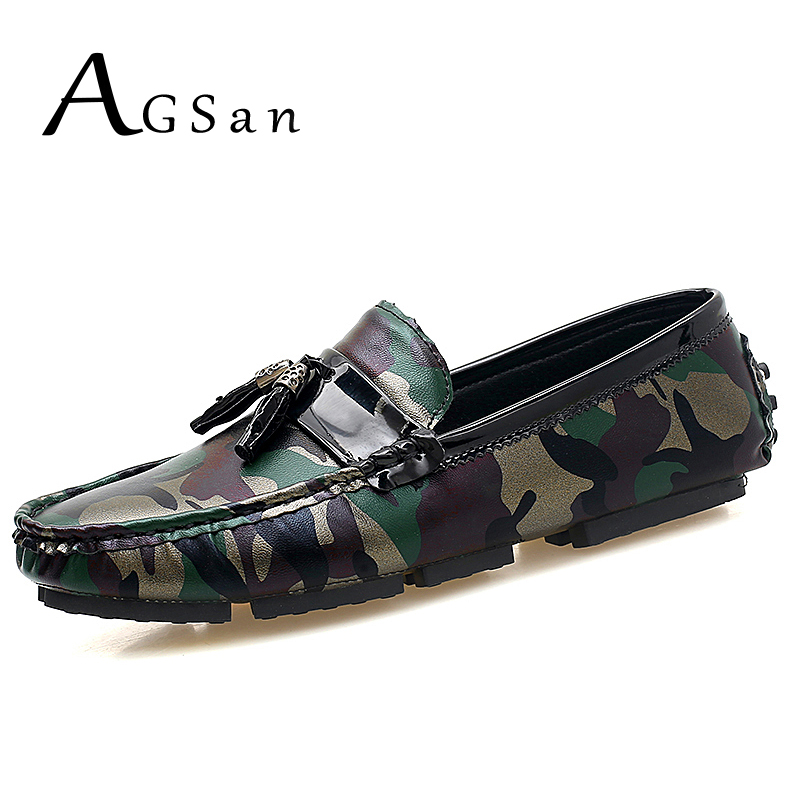 AGSan Camouflage Men Loafers Slip On Moccasins Army Green Driving Shoes Mocassim Masculino PU Leather Lazy Loafers Casual Shoes pl us size 38 47 handmade genuine leather mens shoes casual men loafers fashion breathable driving shoes slip on moccasins