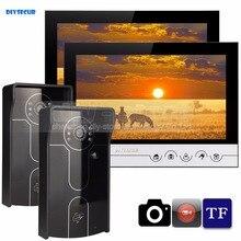 DIYSECUR 9inch Video Record/Photograph Video Door Phone Doorbell Waterproof HD RFID Camera Home Security Intercom System 2V2
