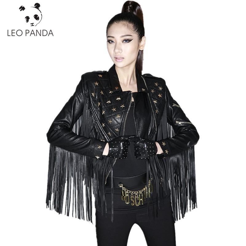 Original Design Autumn Women Novelty Personality Long Tassel Rivets PU   Leather   Short Motorcycle   Leather   Female Jackets LXT196