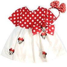 купить Baby Girl Dresses Summer Clothes Cute Cartoon Minnie Applique Cotton Short Sleeve Children Infant Dress For Girls Princess Dress по цене 489.79 рублей