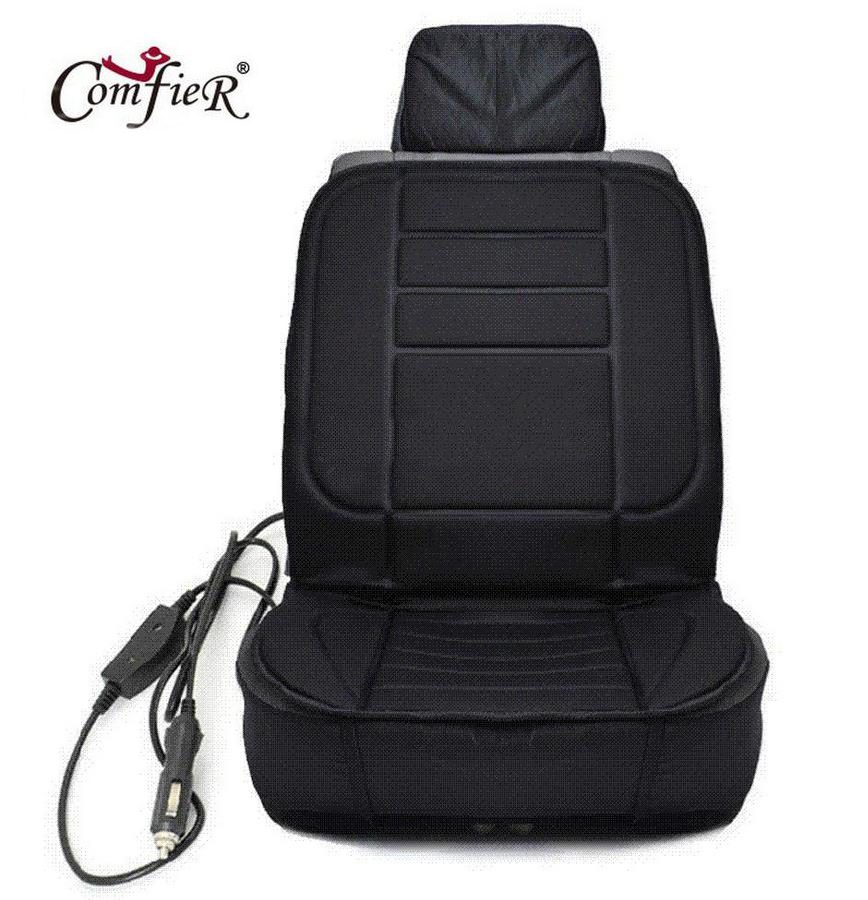 ФОТО Winter Car Covers Pad Car Seat Cushion Electric Heated Cushion Car Heated Seat Covers Universal Conjoined Supplies Black Color