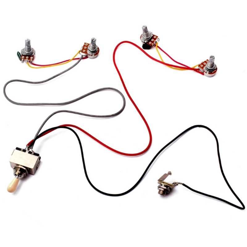 1Set Wiring Harness 3 Way Toggle Switch 2V2T 500K Pots & Jack Les Paul LP Guitar