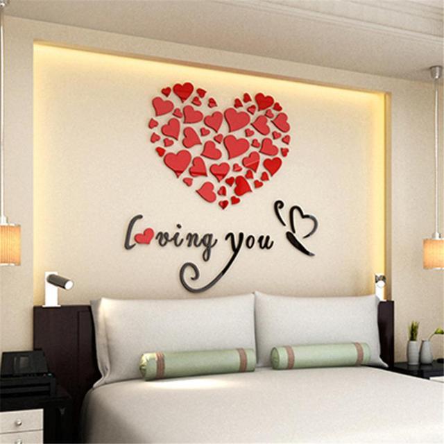 romantis diy art 3d acrylic love heart wall sticker kamar tidur