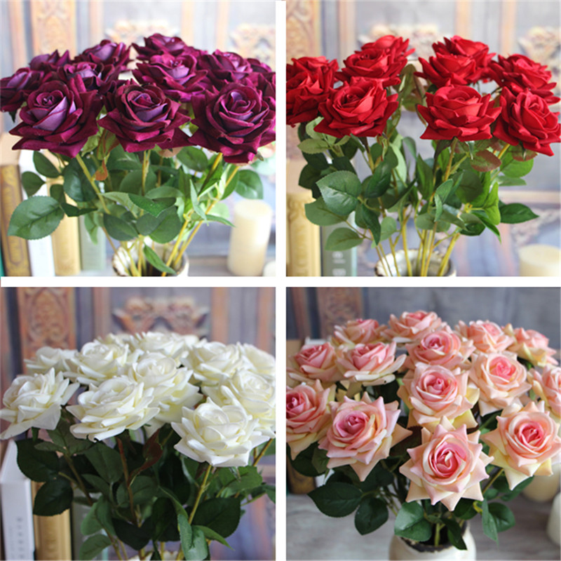 Mini Rose Spring Artificial Fake Flower Bouquet Room Wedding Hydrangea Decor free shipping
