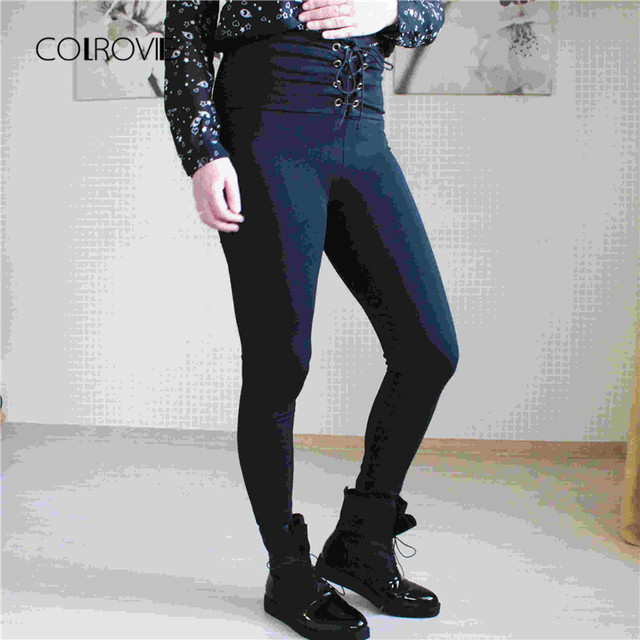 336dc997285fd Spring High Waist Skinny Leggings Black Empire Eyelet Lace Up Sexy Leggings  Women Elegant Sporting Pants