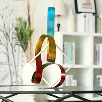 Abstract Iron Sculpture Square and Ribbon Modern Sculpture Original Designed Sculpture Metal Sculpture Indoor Outdoor Decoration