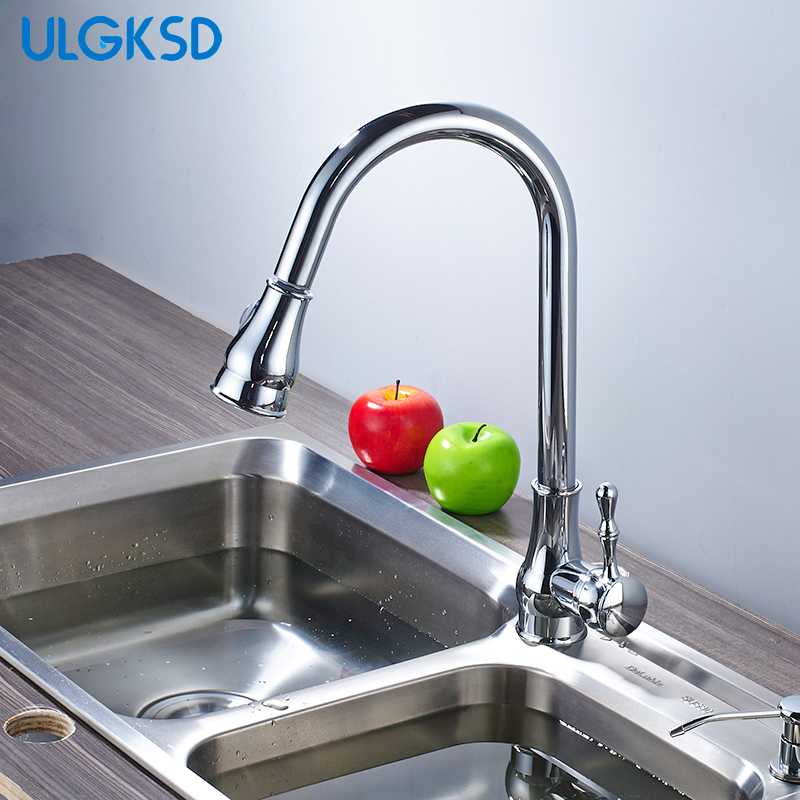 ulgksd kitchen faucet 360 rotating pull out sprayer water kitchen sink faucets ceramic mixer tap para kitchen ulgksd kitchen faucets pull out ledsprayer vessel sink faucets 360 swivel cold and hot water kitchen mixer tap