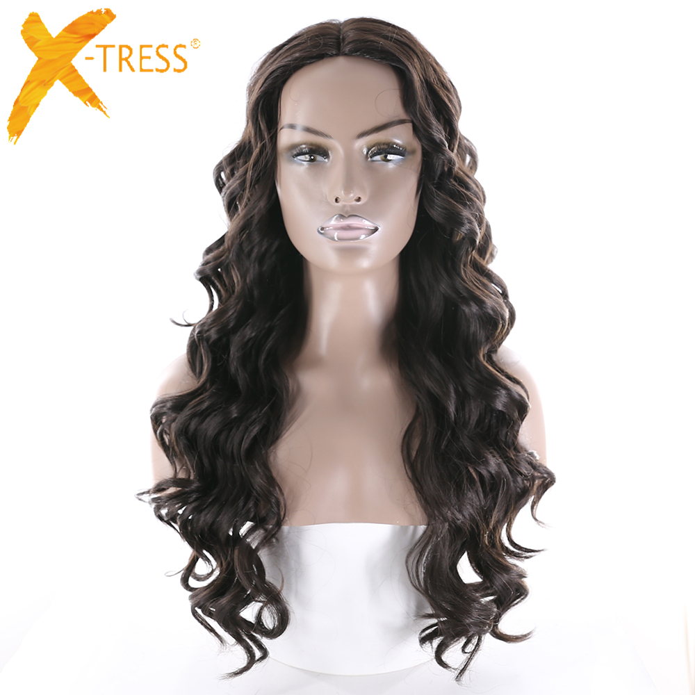 X-TRESS Synthetic U Lace Part Wig Natural Hairline Middle Part High Temperature Fiber Long Loose Wave Perruque Ombre Black Brown ...