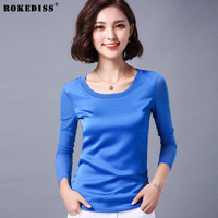 ROKEDISS Spring Silk T Shirt Women Elastic Short Sleeve Solid Color Multicolor Large Size T Shirt