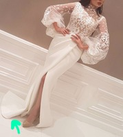Mermaid Saudi Arabic Style Long Sleeves High Neck Lace Appliques White Ivory Satin Hith Split Cutout Long Evening Dresses