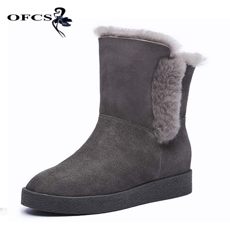 Фото OFCS Cow Frosted snow boots 2017 Autumn Winter Women Genuine Leather Warmer Short Boots Artificial plush Height Increasing shoes