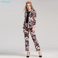 2017 Autumn Women Suits 2 Piece Set Set Fashion Print Casual Long Sleeve Blazer And Jackets + Black Lounge Pants