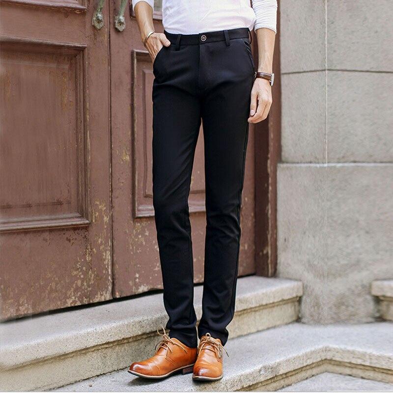 Fashion Men's Skinny Stretch Suits Pants Classic Regular ...