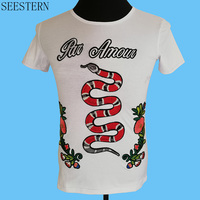 Seestern Brand Clothing Embroidery Snake Men T Shirt Fashion Flowers Rose Summer Short Sleeve Hip Hop