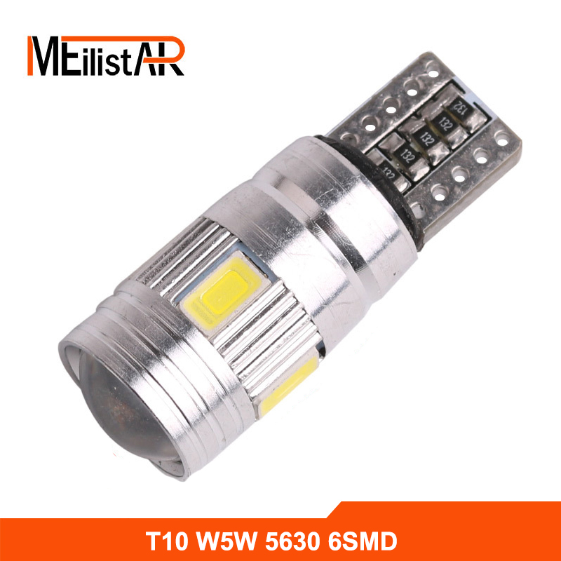 Free shipping 1X Car styling led T10 194 Canbus Error Free Bulb OBC W5W LED 6-SMD 5630 Lens Projector Aluminum Parking car Lamp t10 3w 144lm 6 x smd 5630 led error free canbus white light car lamp dc 12v 2 pcs