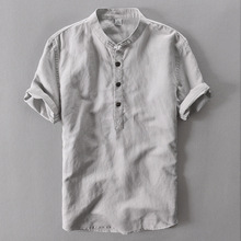 Summer Fashion Men Shirts Stand Collar Short Sleeve Linen Cotton Tee Pullover Cool Breathable Casual T-shirts Hombre