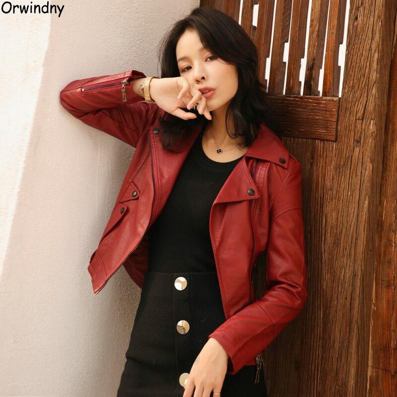 Orwindny Women Motorcycle   Leather   Jacket Burgundy S-2XL Turn-down Collar Zipper Jacket Coat Female   Leather   Clothing